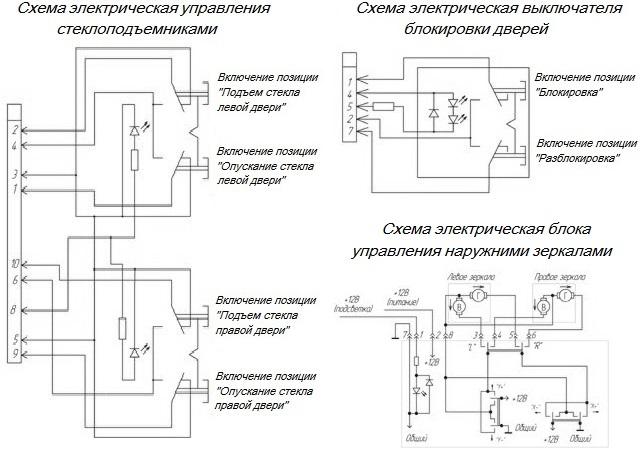 Блок управления стеклоподъемниками приора схема5
