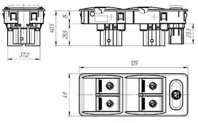 Габариты и установочные размеры блока переключателей Ф5.3709.006