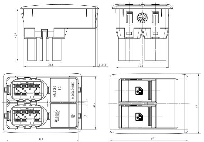 Габариты и установочные размеры блока переключателей АВАР 357.3769
